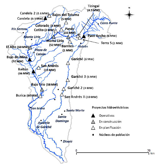 A map of existing, in construction, or planned hydroelectric projects in the Chiriqui Viejo Watershed, Panama, as of 2014. This map illustrates the potential cumulative impacts in nations with little regulation around cumulative effects.