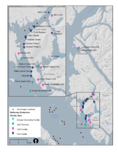 A map of the region around Kitimat and Prince Rupert, showing numerous LNG facilities and the ports and anchorages affiliated with LNG transport.