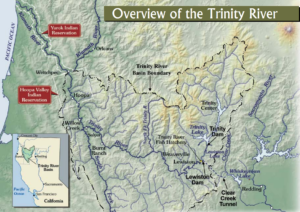 Map overview of the Trinity River showing location and key features, reproduced from the US Bureau of Reclamation Record of Decision brochure (USBR 2000).